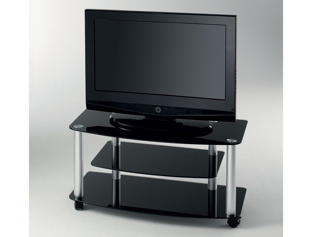 tv glass stand with wheels millenium. Black Bedroom Furniture Sets. Home Design Ideas