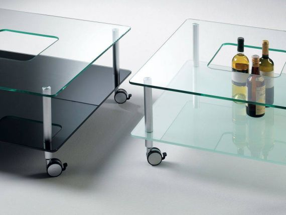 Glass coffee table with wheels Hole