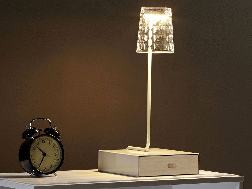 lampe de bureau led avec tiroir en bois inbox. Black Bedroom Furniture Sets. Home Design Ideas