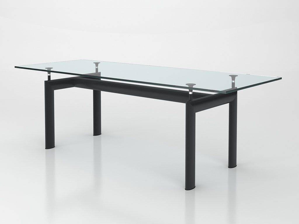 table le corbusier in metal and glass. Black Bedroom Furniture Sets. Home Design Ideas