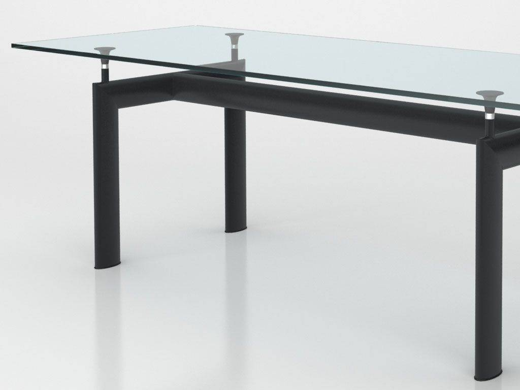 table le corbusier en m tal et verre. Black Bedroom Furniture Sets. Home Design Ideas
