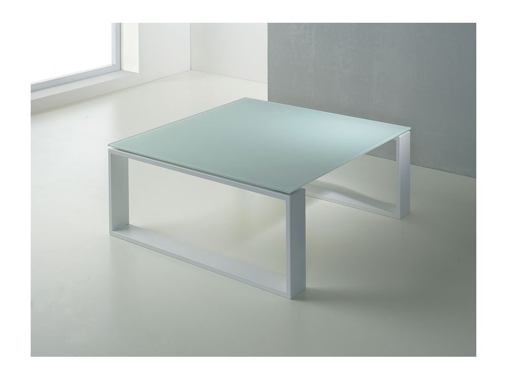 Adone table basse en verre et acier for Table basse verre but