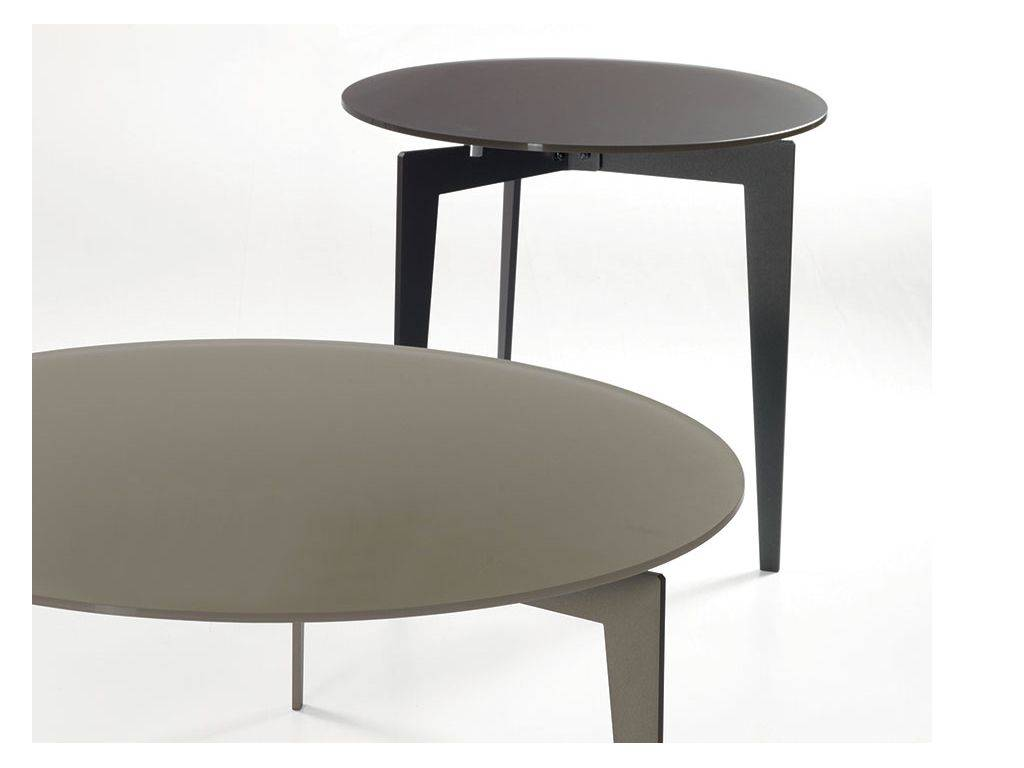 table basse rond en acier et verre nordic. Black Bedroom Furniture Sets. Home Design Ideas