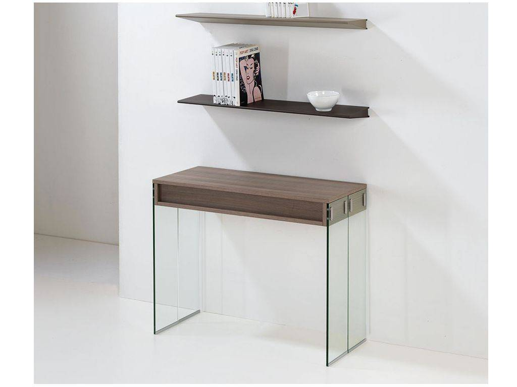 table console rallonges en bois et verre city. Black Bedroom Furniture Sets. Home Design Ideas