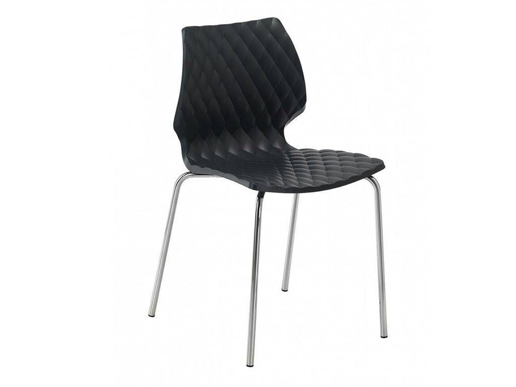 Uni 550 cr chair with legs in chromed steel for Metal living room chairs