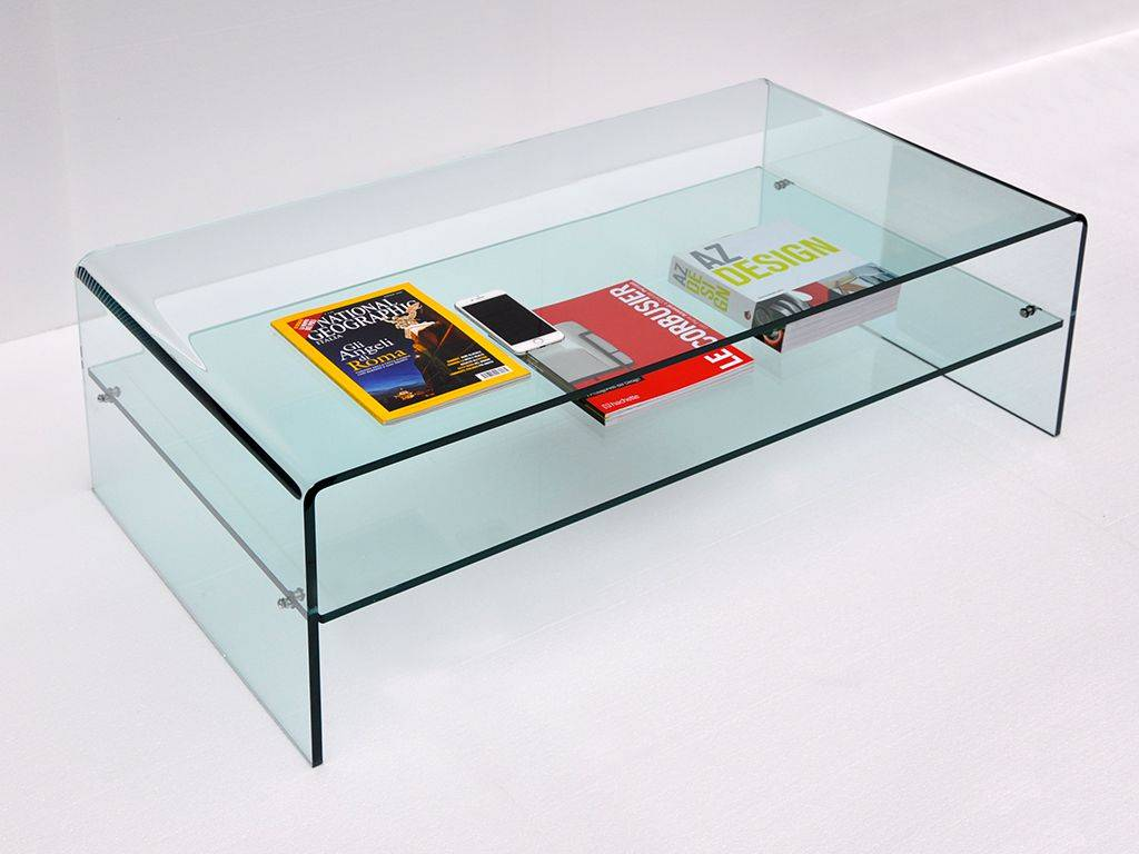 Curved glass small table with shelf accademia for Petite table tv