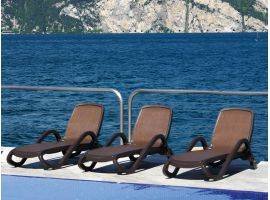 Sunbed COFFEE with armrests Alfa