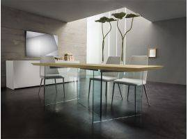 Glass and wood table Sospiro
