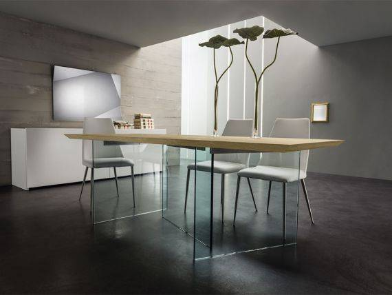 Glass and wood table Breath