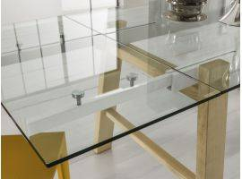 Hornet glass extending table with legs in wood
