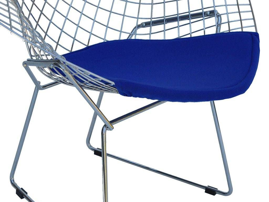 Bertoia diamond chromed metal armchair for Metal living room chairs