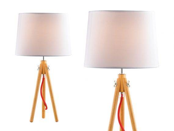 York table lamp with natural wood base