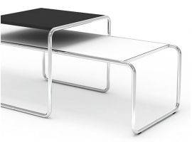 Marcel Breuer metal small table Laccio with laminated top