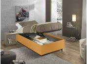 Sommier upholstered single bed with container