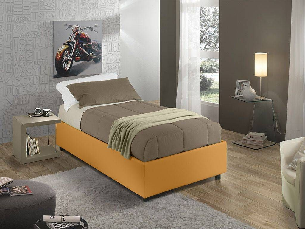 Sommier faux leather upholstered single bed with fixed base