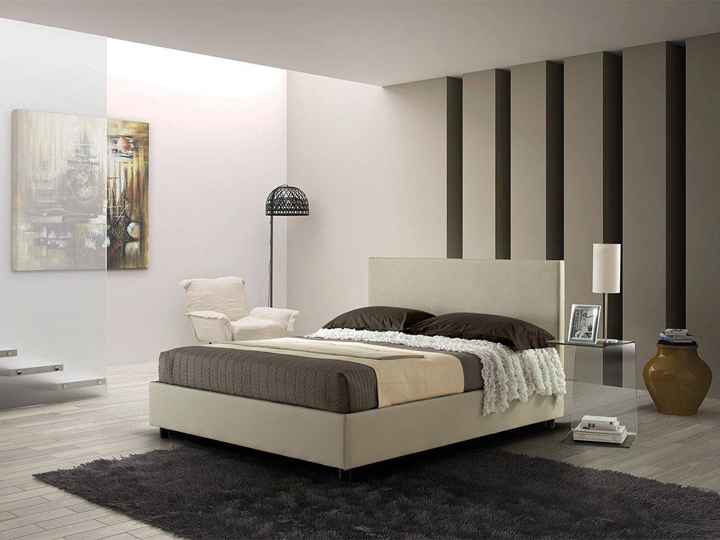 alison lit double rembourr avec sommier fixe. Black Bedroom Furniture Sets. Home Design Ideas