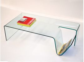 Library table basse en verre courbé