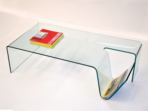 Library coffe table in curved glass