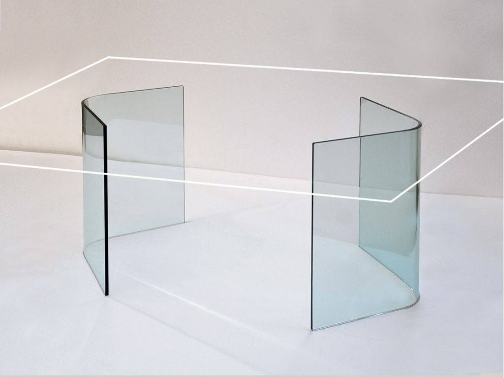 Base Per Tavolo In Vetro.Libro Bases In Curved Glass For Crystal Table