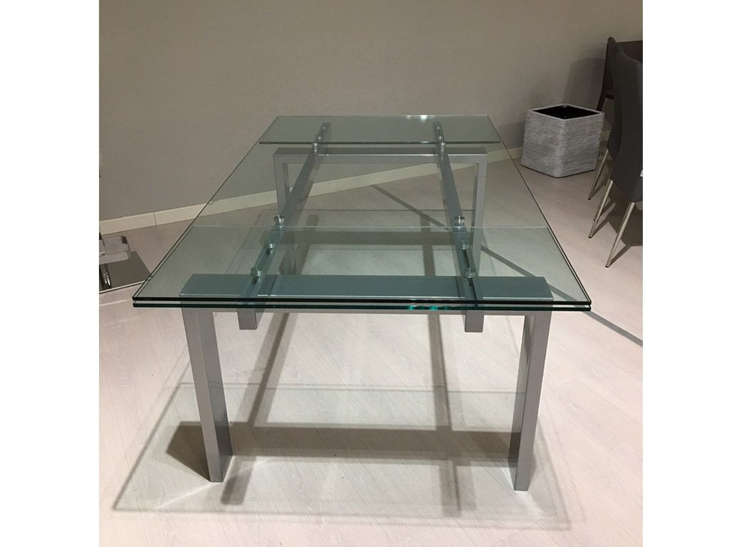 Extending table glass metallo for Glass top dining table next