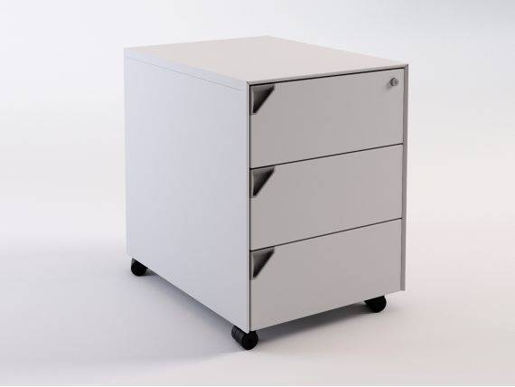 Joint office chest of drawers on wheels with 3 drawers