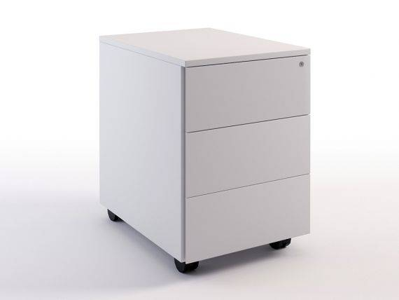 Metal chest of drawers on wheels with 3 drawers Simplex