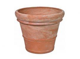 Smooth terracotta pot with double border