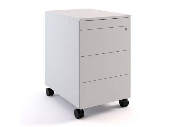 Metal chest of drawers on wheels with 4 drawers Simplex