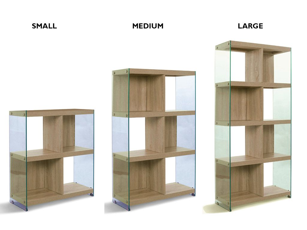 Timber Bookcase: Glass And Oak-wood Bookcase Nancy