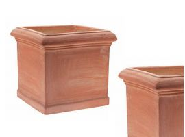 Cubo smooth Toscano terracotta pot