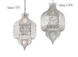 Hanging lamp with metal and silver structure Nawa