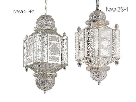 Ornamental hanging lamp with metal and silver structure Nawa