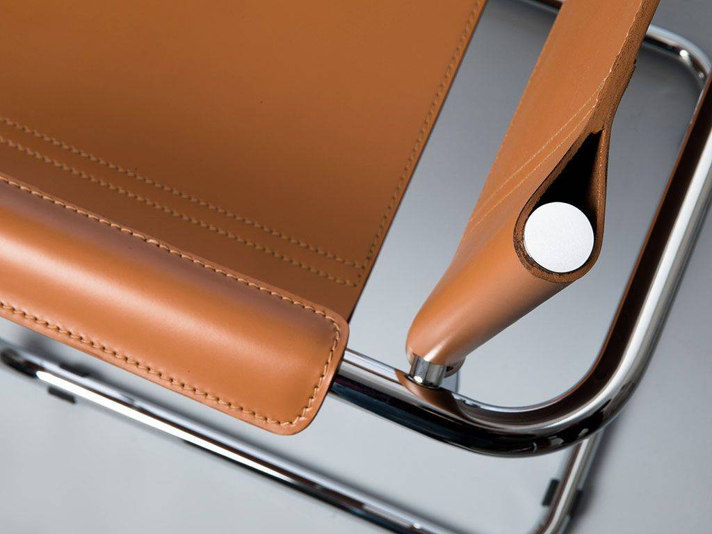 Mart stamm chair with armrests in chromed metal and leather - Chaise avec accoudoir but ...