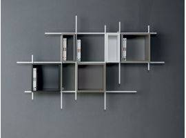 LIBRA 3 LEGNO Bookcase with steel frame and wood storages