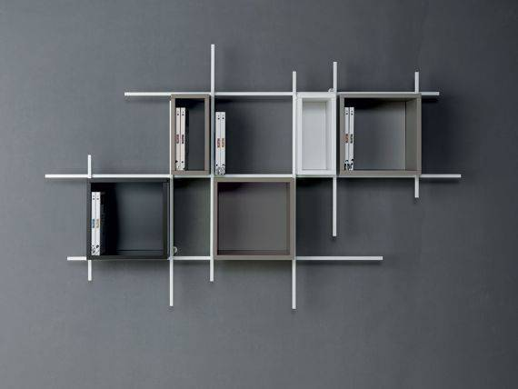 LIBRA 2 LEGNO Bookcase with steel frame and wood storages