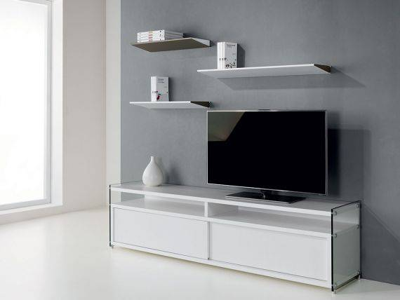 TV stand in glass and wood Media