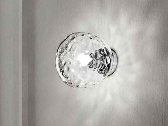 Applique industrial style in clear glass sphere