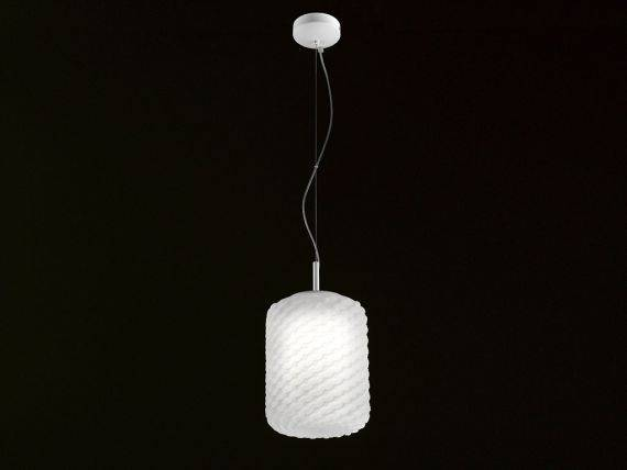 Hanging lamp in blown glass DOMINO