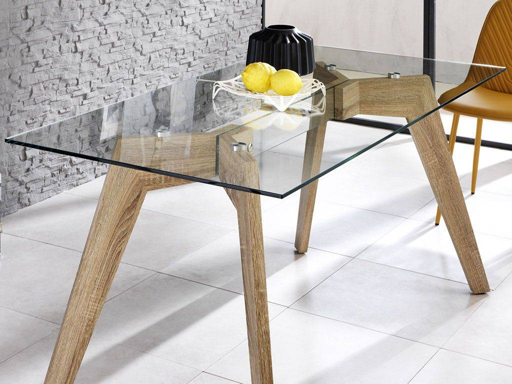 Base Per Tavolo In Legno.Dafne Table In Glass With Wooden Base