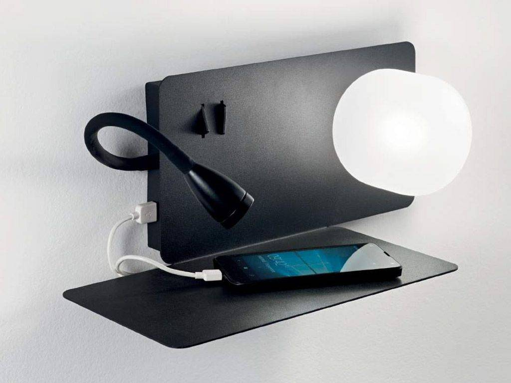 Shelf with lamp and usb book