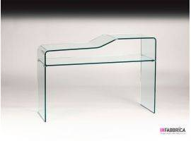 Console in curved glass Inchino ripiano