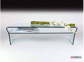 Coffee table in curved glass Niagara ripiano