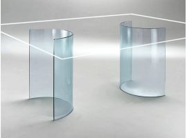 Bases in curved glass for crystal table Tao