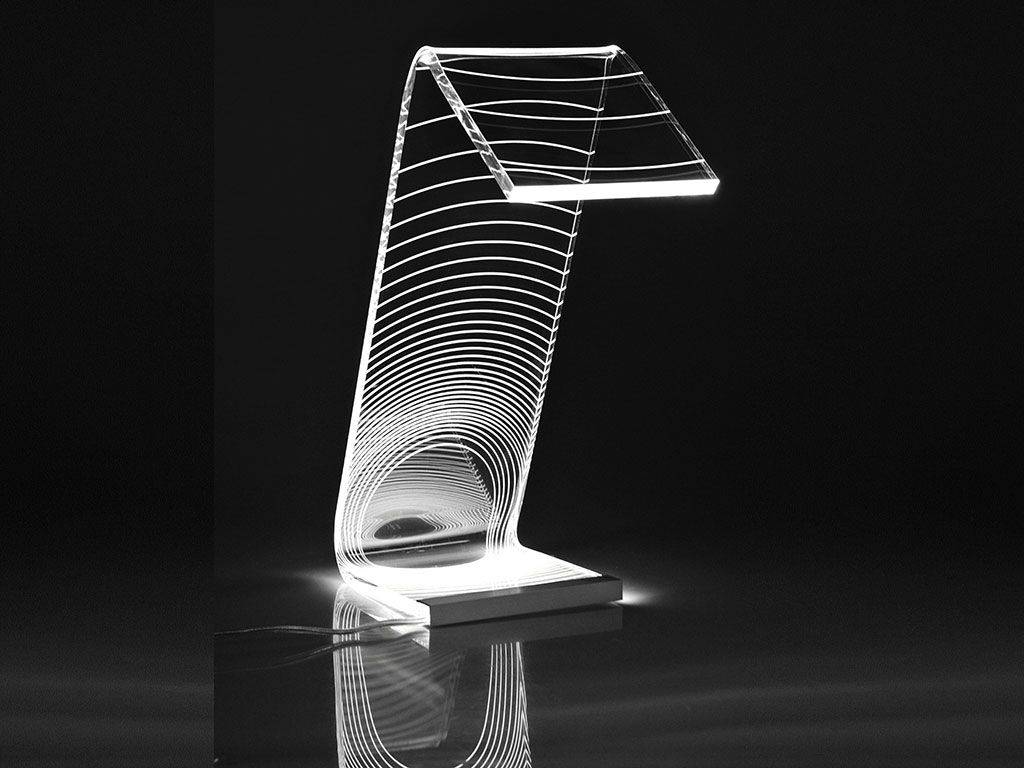 Acrylic crystal Design table lamp C-LED Eclisse