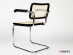 Cesca chair with armrests in chromed metal with wooden frame