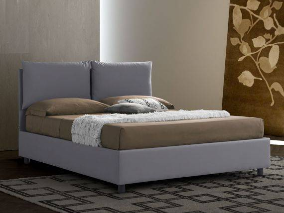 Upholstered bed with fixed base Margherita