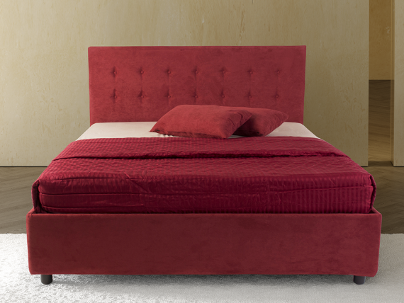 Strawberry upholstered double bed