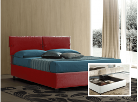 Upholstered double bed with container Sissi