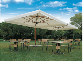 Wood double outdoor wooden umbrella