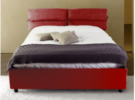 Upholstered double bed with container Ribbony